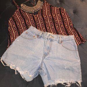 Custom worn in Levi's Cut Off 550 Jean shorts